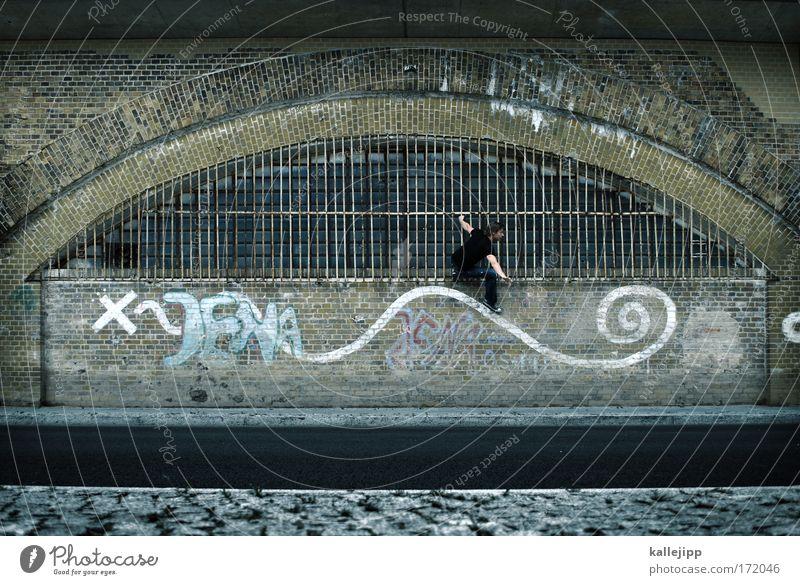 www.jena.de Mensch Mann Stadt Wasser Fenster Erwachsene Leben Graffiti Spielen maskulin Freizeit & Hobby Wellen Telekommunikation Informationstechnologie Bogen