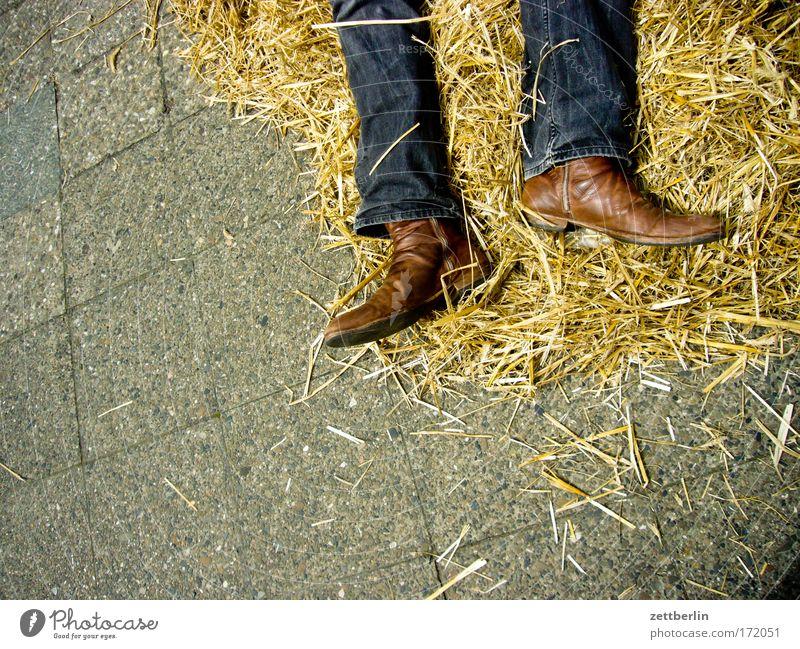 Wilder Westen Stroh Cowboy Stiefel cowboyboots cowboystiefel Jeanshose Jeansstoff Bekleidung Beine liegen Tod erschießen Opfer Leiche Erschöpfung schlafen