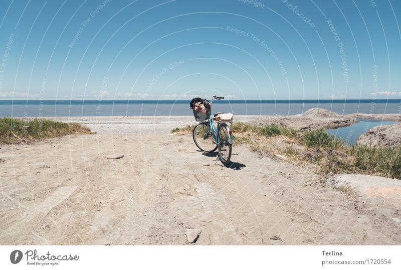 Freiheit Fahrradfahren Bewegung genießen Ferien & Urlaub & Reisen Blick sparen wandern frei Unendlichkeit nass natürlich sportlich blau gelb grün Freude