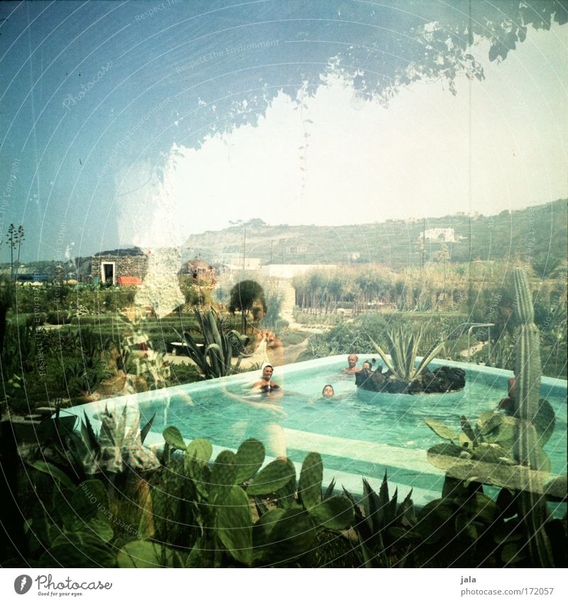 ischia 1963 Mensch Kind Ferien & Urlaub & Reisen Erwachsene Erholung Landschaft Menschengruppe Familie & Verwandtschaft Schwimmen & Baden Kindheit Schwimmbad Italien 8-13 Jahre Doppelbelichtung früher Kaktus