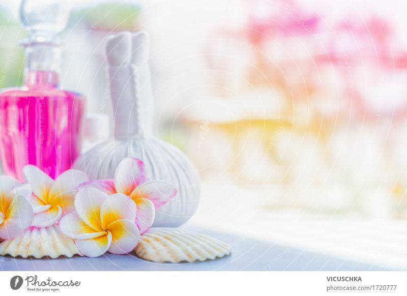 Wellness Hintergrund mit Frangipani Blumen und Spa Zubehör Natur Ferien & Urlaub & Reisen Sommer schön Erholung Blatt gelb Blüte Stil Gesundheit rosa Design Bad
