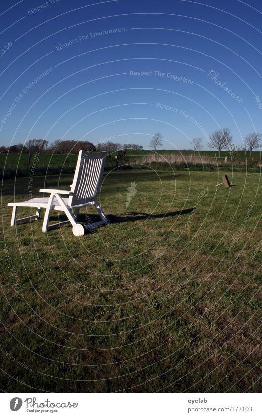 Mach mal Pause Natur Himmel Baum grün blau Ferien & Urlaub & Reisen ruhig Einsamkeit Ferne Leben Erholung Wiese Gras Frühling Garten träumen