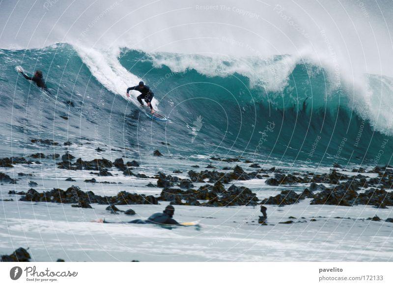 surfer takes off Farbfoto Außenaufnahme Dämmerung Silhouette Zentralperspektive Wassersport Surfen Wind Wellen Riff Sport bedrohlich Mut kalt Kelp Südafrika