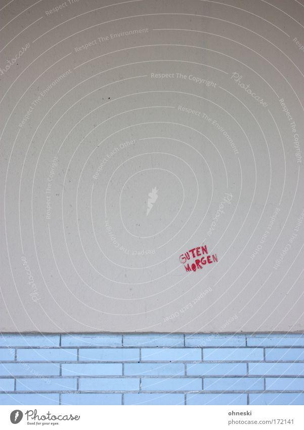Wünsche einen schönen... Stadt rot Haus Wand Stein Mauer Gebäude Graffiti Architektur Fassade Schriftzeichen Backstein Freundlichkeit Bauwerk Einfamilienhaus