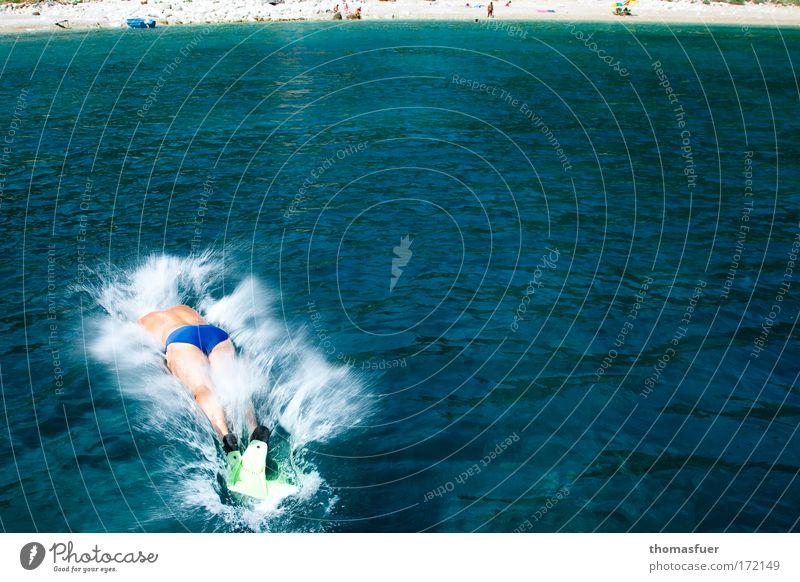Grünflossendelphin Mensch Mann Wasser Sonne Meer blau Freude Ferien & Urlaub & Reisen Sport kalt springen Bewegung Wärme Erwachsene maskulin