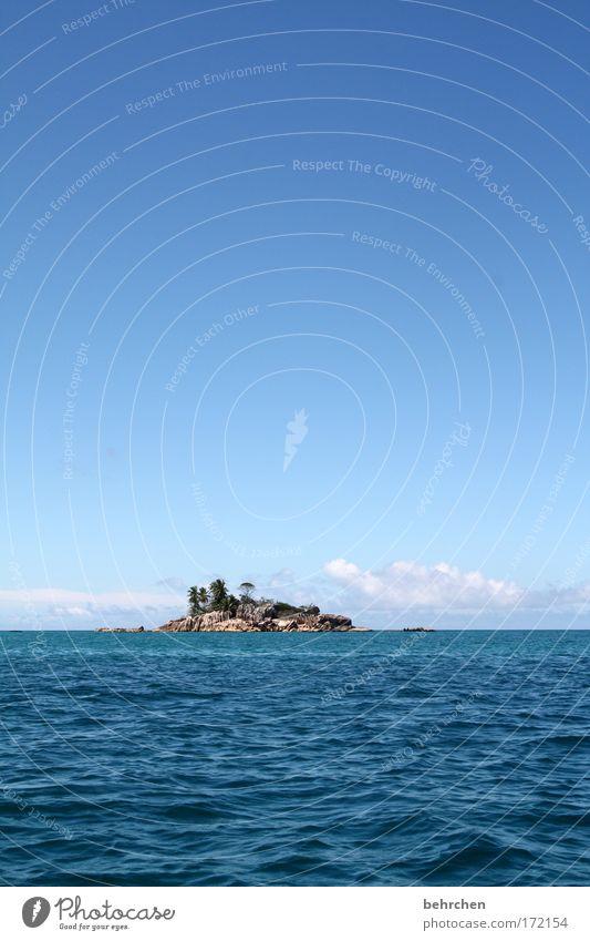 coco de mer Wasser Himmel Sonne Meer blau Ferien & Urlaub & Reisen Wolken Ferne Freiheit Glück träumen Zufriedenheit Wellen Ausflug Abenteuer Insel