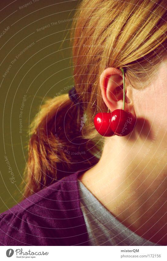 Cherry Berry. Frau Jugendliche Sommer rot Mädchen lustig Stil Mode 2 Frucht modern Dekoration & Verzierung ästhetisch paarweise Zeichen Kitsch