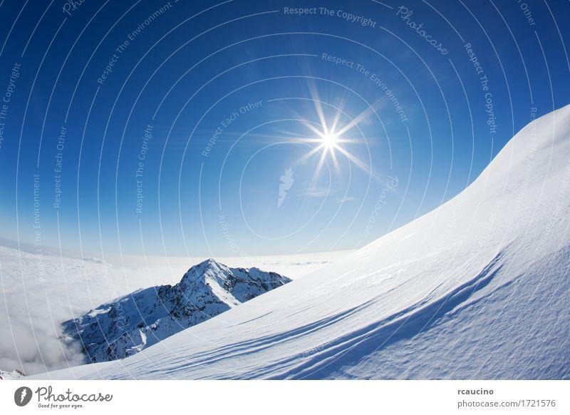 Himmel Natur blau weiß Sonne Landschaft Winter Berge u. Gebirge Schnee Europa Italien Alpen horizontal Tal Klarer Himmel