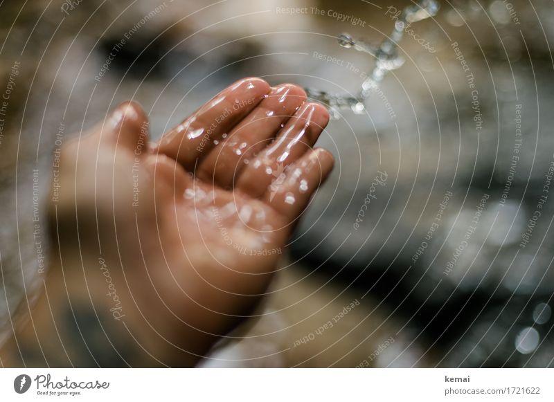 Schwäbische Landpartie | Wasserspiel Spielen Ausflug Abenteuer Mensch Leben Hand Finger Handfläche 1 Wassertropfen Bach werfen Fröhlichkeit glänzend kalt nass