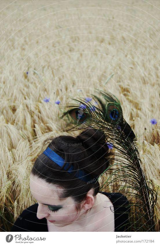 Vom Winde zerstreut... Jugendliche Blume Gesicht feminin Kopf Haare & Frisuren Denken Mund Arme sitzen Haut Nase Ohr beobachten fallen berühren
