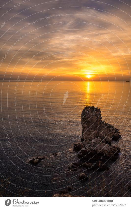 Meeresblick am Abend Natur Ferien & Urlaub & Reisen Sommer Wasser Landschaft Erholung ruhig Ferne Umwelt Leben Herbst Küste Stimmung Felsen Tourismus