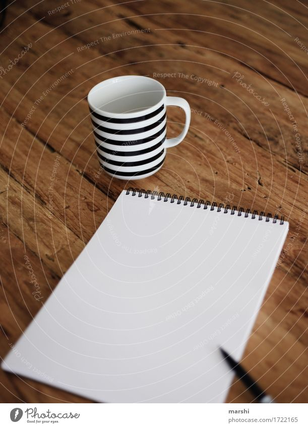 Warten auf Inspiration Freizeit & Hobby Basteln Zeichen Ziffern & Zahlen Gefühle Stimmung Papier Block Schreibstift zeichnen malen schreiben Schreibtisch Tasse