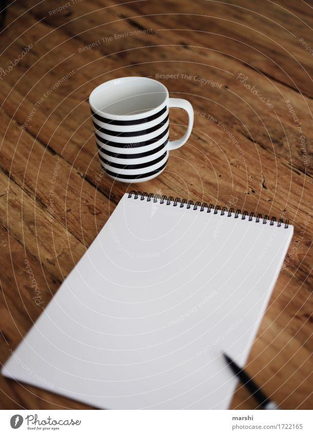 Warten auf Inspiration Gefühle Stimmung Arbeit & Erwerbstätigkeit Büro Freizeit & Hobby Kreativität Papier malen Zeichen Pause Kaffee Ziffern & Zahlen schreiben