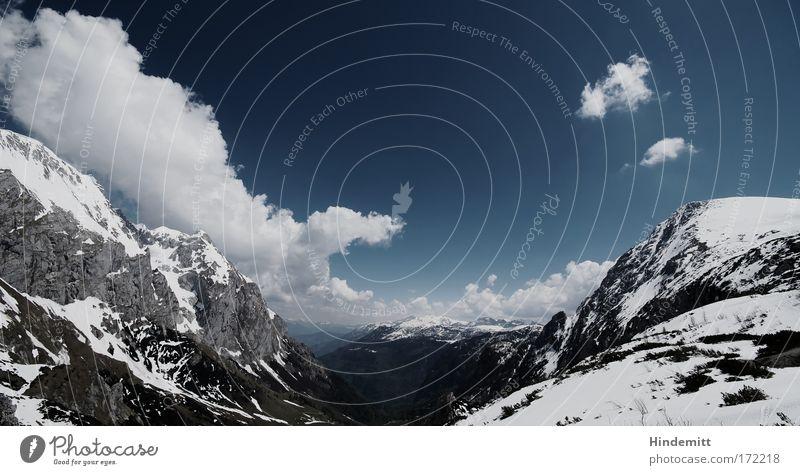 Kühl, weil's grad so warm ist Himmel weiß blau schön Ferien & Urlaub & Reisen Wolken Winter ruhig schwarz Erholung kalt Schnee Berge u. Gebirge Landschaft