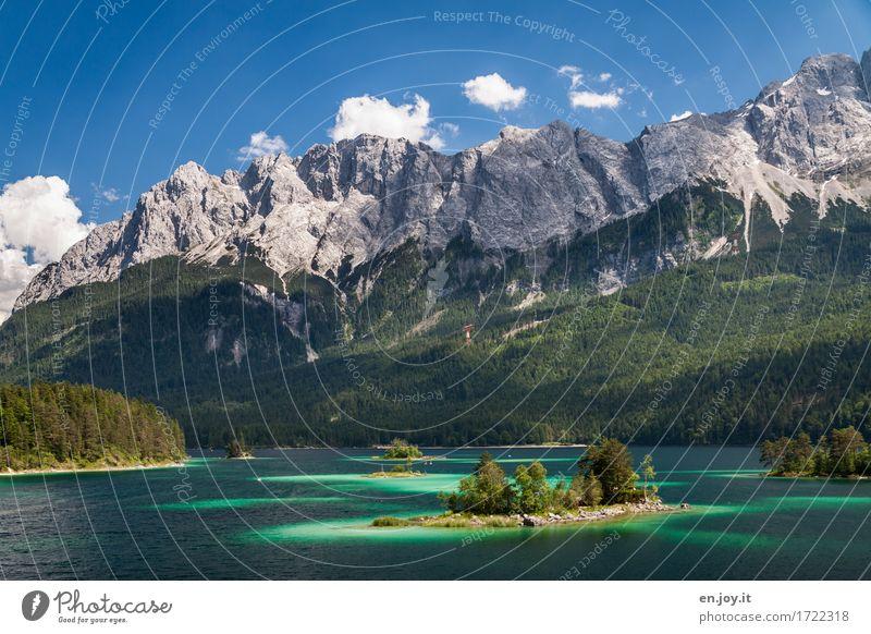 Traumlandschaft Ferien & Urlaub & Reisen Ausflug Sommer Sommerurlaub Berge u. Gebirge Natur Landschaft Himmel Schönes Wetter Wald Felsen Alpen Zugspitze Insel