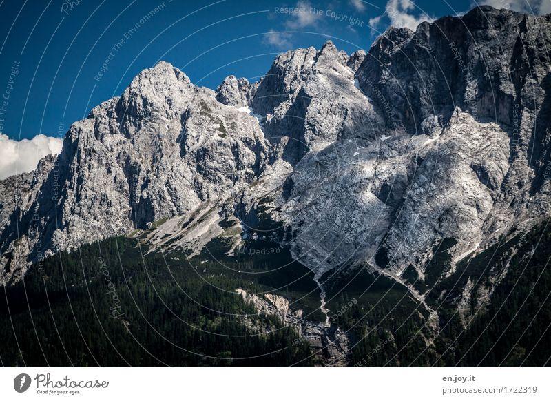 Erdgeschichte Ferien & Urlaub & Reisen Abenteuer Sommerurlaub Berge u. Gebirge wandern Natur Landschaft Himmel Klimawandel Felsen Alpen Zugspitze Deutschland