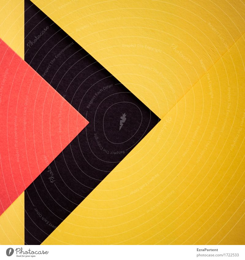 R>s>G Papier Dekoration & Verzierung Zeichen Schilder & Markierungen Hinweisschild Warnschild Linie Pfeil gelb rot schwarz ästhetisch Design Farbe Werbung