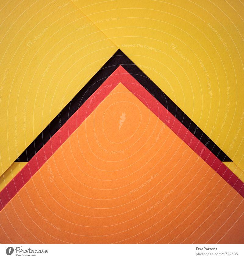 OrsG^^^GsrO Papier Dekoration & Verzierung Zeichen Linie Pfeil Streifen ästhetisch eckig mehrfarbig gelb orange rot schwarz Design Farbe Ziel Pyramide Geometrie