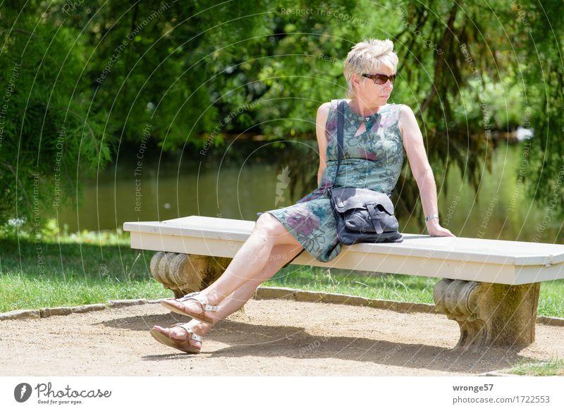 Kleine Pause Sommer Mensch feminin Frau Erwachsene Weiblicher Senior 1 45-60 Jahre sitzen warten elegant schön braun grün türkis Blick Bank Steinbank Parkbank