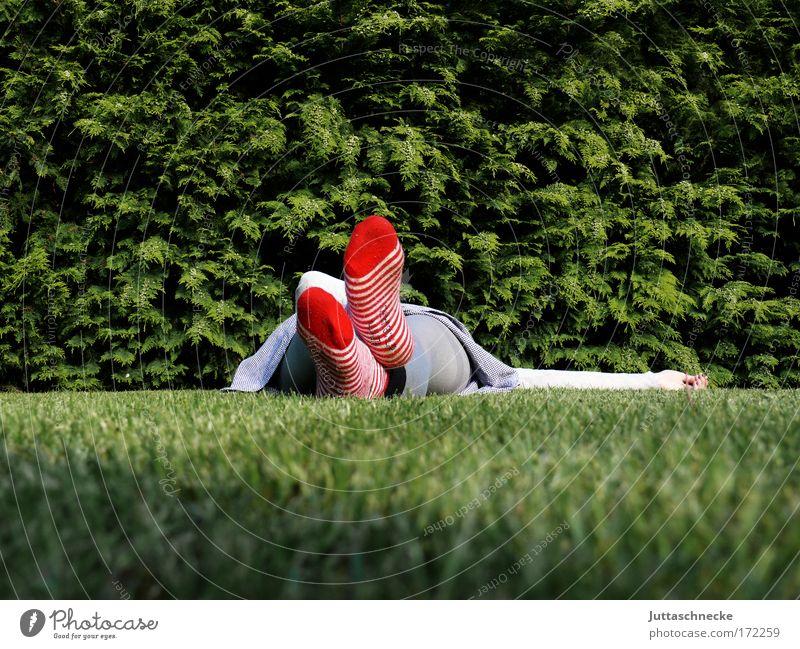 Feierabend Frau rot ruhig Erholung Wiese Gras Zufriedenheit schlafen Pause Frieden Müdigkeit Strümpfe Wohlgefühl friedlich ruhen Mensch