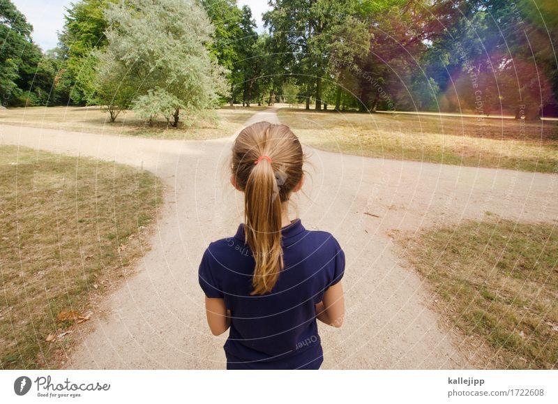mach dein ding, egal was die anderen labern... Mensch Kind Mädchen Kindheit Kopf Haare & Frisuren 1 8-13 Jahre Fußgänger Wege & Pfade Wegkreuzung laufen Suche