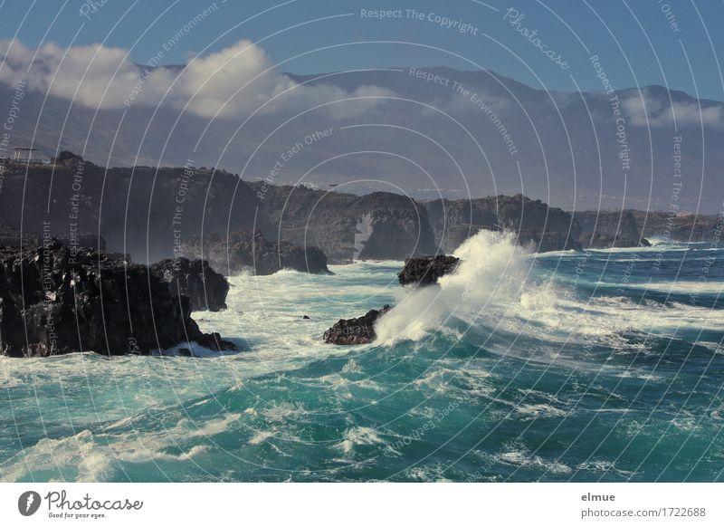 stürmisch Ferien & Urlaub & Reisen Abenteuer Kreuzfahrt Urelemente Wasser Wolken Klima Sturm Felsen Meer Atlantik Insel El Hierro Wellen Wellenschlag Aggression