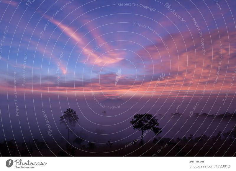 Gebirgstal während des Sonnenaufgangs bei Thung Salaeng Luang schön Ferien & Urlaub & Reisen Sommer Berge u. Gebirge Tapete Natur Landschaft Himmel Wolken