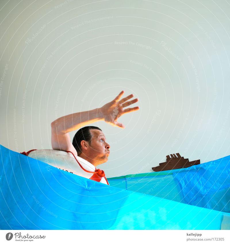 rettungspaket Farbfoto mehrfarbig Innenaufnahme Studioaufnahme Experiment Textfreiraum oben Tag Oberkörper Blick nach vorn Mensch Mann Erwachsene Leben Haut