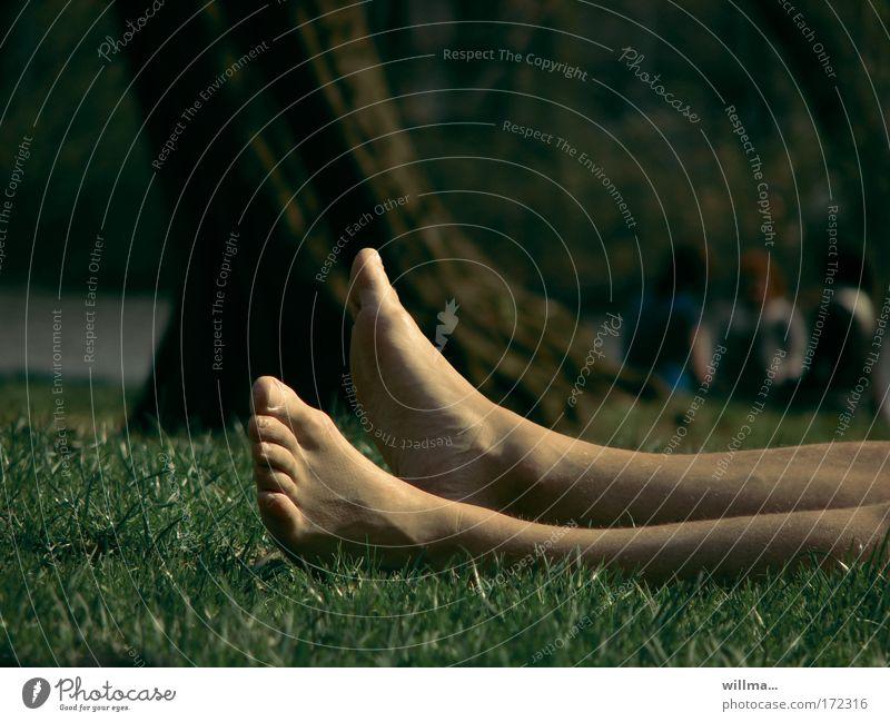 park.platz Mensch Sommer Ferien & Urlaub & Reisen ruhig Erholung Wiese Freiheit Fuß Park Beine schlafen liegen Müdigkeit Langeweile Sonnenbad Wohlgefühl