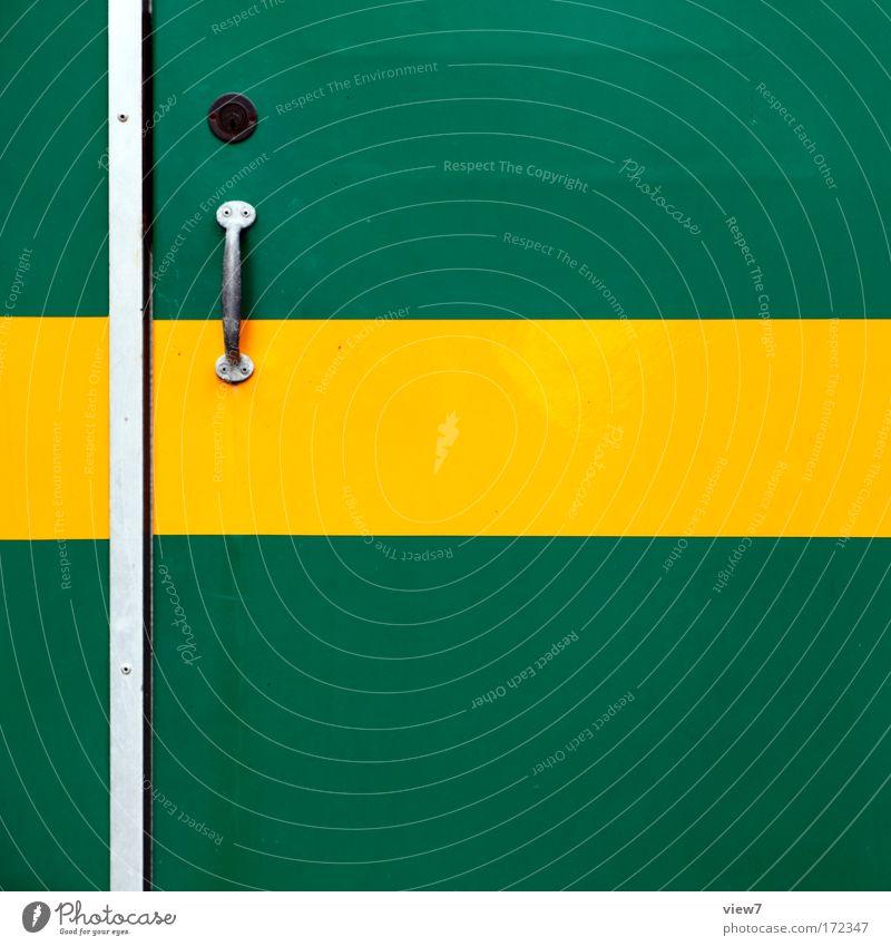 Griff zum drücken? schön alt grün gelb Metall groß Zeit Zukunft authentisch Ziel Autotür Dekoration & Verzierung Streifen Schnur
