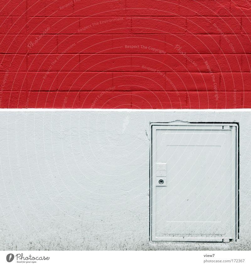 Ziegelsteine rot schön Haus Farbe Wand grau Stein Mauer Stimmung Energie Fassade Fröhlichkeit ästhetisch authentisch Streifen einzigartig