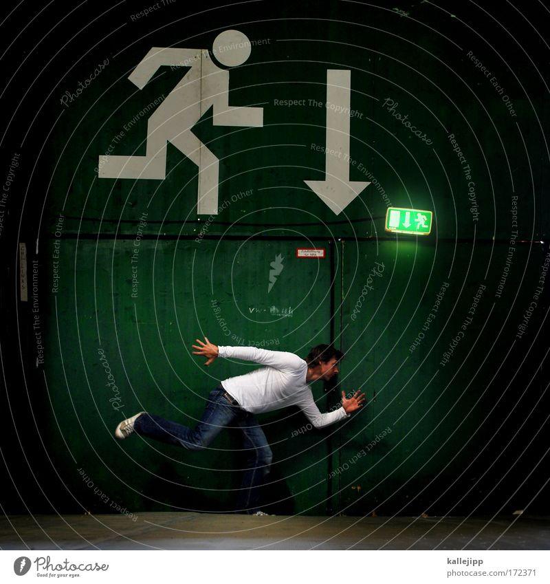 run for cover Mensch Mann Erwachsene Tod Leben Beine Angst Arme Verkehr gefährlich Sicherheit Pfeil Veranstaltung Todesangst Tunnel Stress