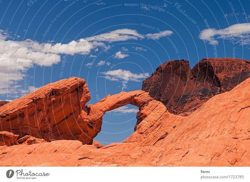 arch rock valley of fire Natur Landschaft rot Berge u. Gebirge Umwelt gelb Stein Sand Felsen orange wandern gold authentisch Schönes Wetter historisch