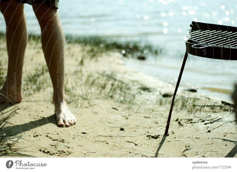 Grillen am See Mensch Mann Natur Wasser Pflanze Sommer Strand Ernährung Leben Freiheit Beine planen Erwachsene Deutschland