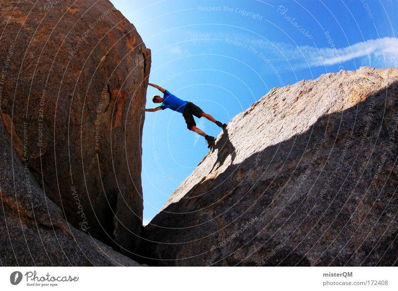 vertical limit. Jugendliche Sport Felsen Horizont Zufriedenheit Freizeit & Hobby Kraft Aktion Erfolg verrückt hoch gefährlich bedrohlich Schönes Wetter planen Abenteuer