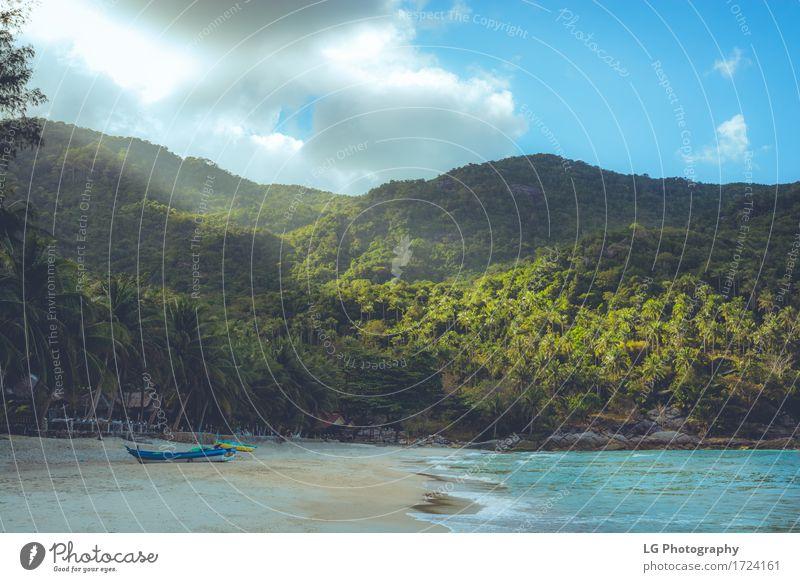 Ferien & Urlaub & Reisen blau Farbe schön grün Sonne Meer Erholung Wolken ruhig Strand Küste Sand Wasserfahrzeug Verkehr Wellen