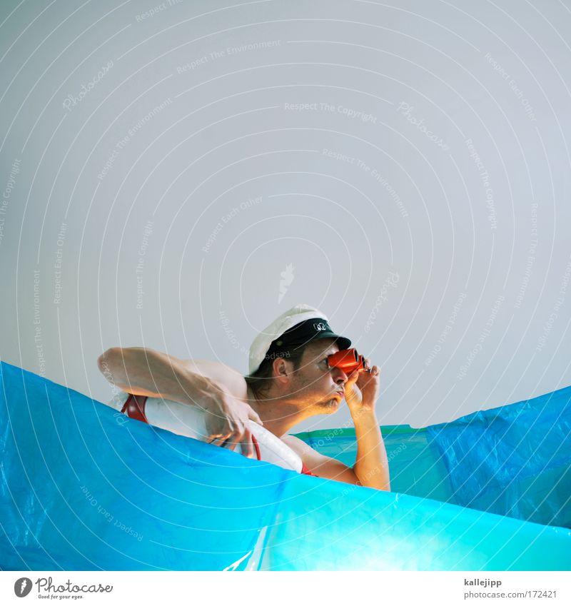 columbus Mensch Mann Wasser blau Meer Erwachsene Kopf Wellen Horizont Sicherheit historisch Theaterschauspiel entdecken Rettung Kulisse Fernglas