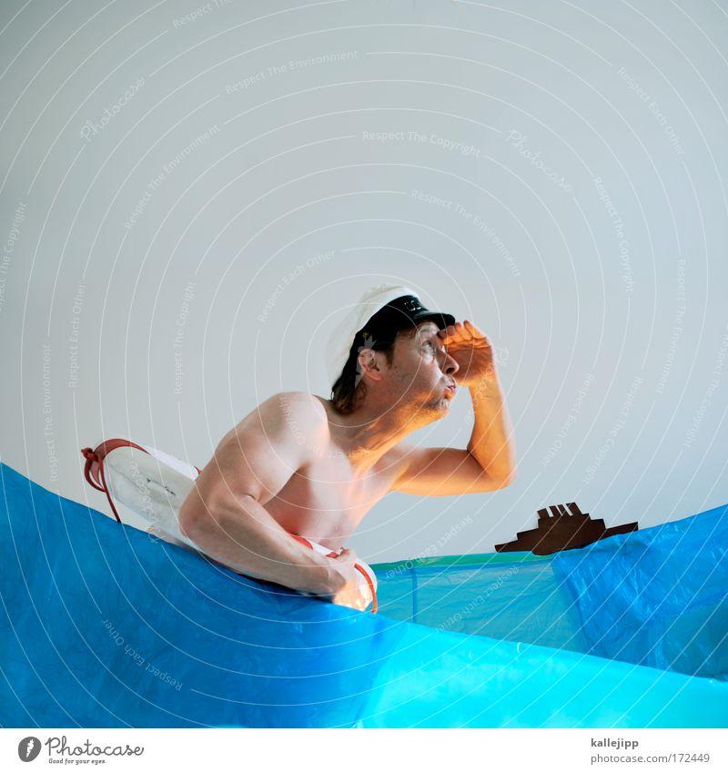 ahoi Mensch Mann Natur Wasser Hand Meer Erwachsene nackt Kopf Wellen Körper Arme Haut Schwimmen & Baden beobachten Hut