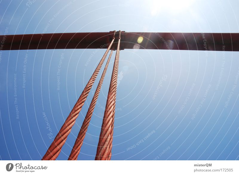 man vs. nature Sommer Kraft Architektur Seil hoch Brücke Zukunft USA Tourismus Baustelle fest Stahl Rost Bauwerk Säule
