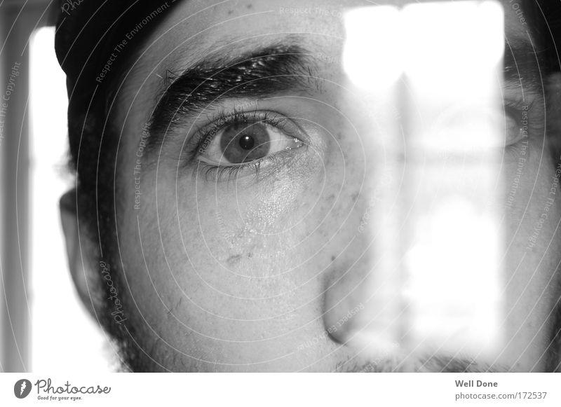 Durchblick Mensch maskulin Mann Erwachsene Gesicht Auge 1 18-30 Jahre Jugendliche bizarr durchsichtig Licht Blick Schwarzweißfoto Innenaufnahme Experiment Tag