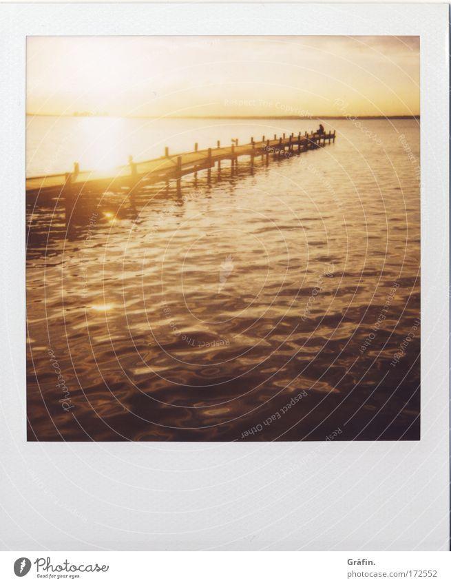 Abendstimmung Himmel Wasser Ferien & Urlaub & Reisen Sonne Meer Sommer Einsamkeit ruhig Ferne Erholung Umwelt See Horizont Wellen Zufriedenheit Ausflug