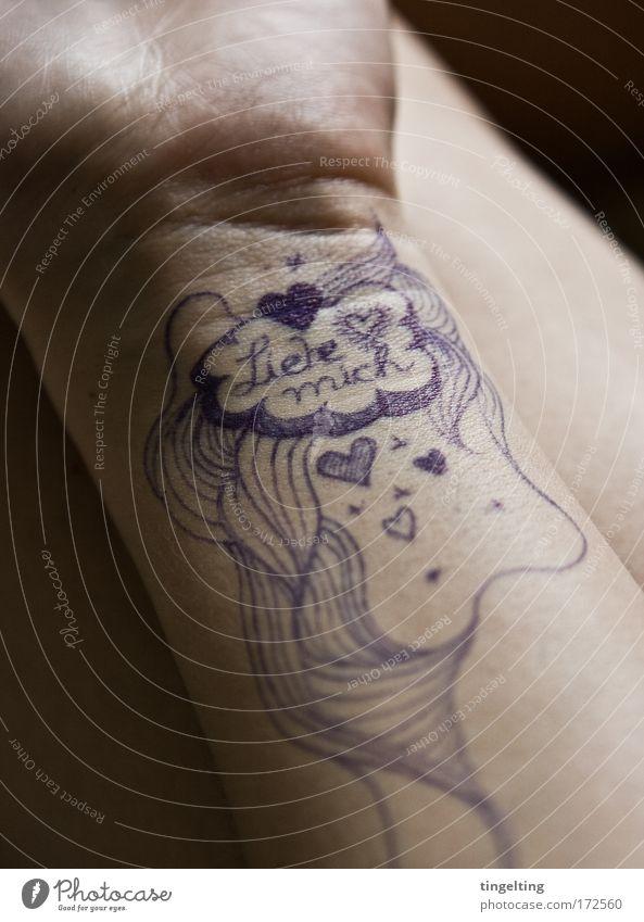 liebeslinien Hand Erwachsene Liebe feminin träumen Linie Kraft Herz Arme Haut authentisch Hoffnung zeichnen Leidenschaft Zeichnung Gelenk