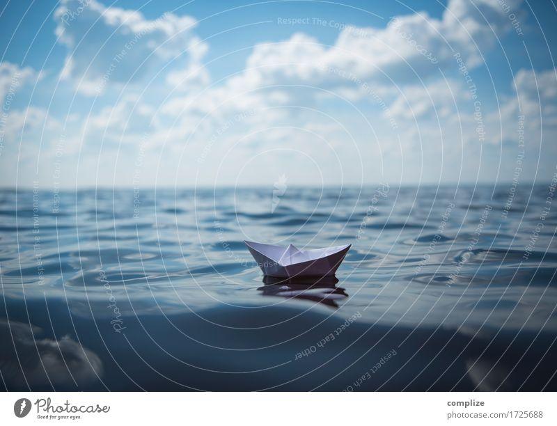 Papierschiffchen Himmel Ferien & Urlaub & Reisen Sommer Sonne Meer Strand Umwelt Küste Spielen Freiheit See Tourismus Büro Wellen Wind Insel