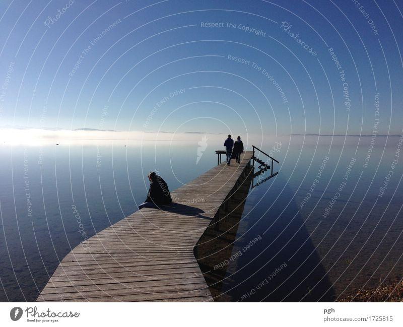 Nebel am Horizont Mensch Natur Ferien & Urlaub & Reisen Sommer Wasser Sonne Landschaft Erholung ruhig Ferne Umwelt Leben Herbst Freiheit Schwimmen & Baden See