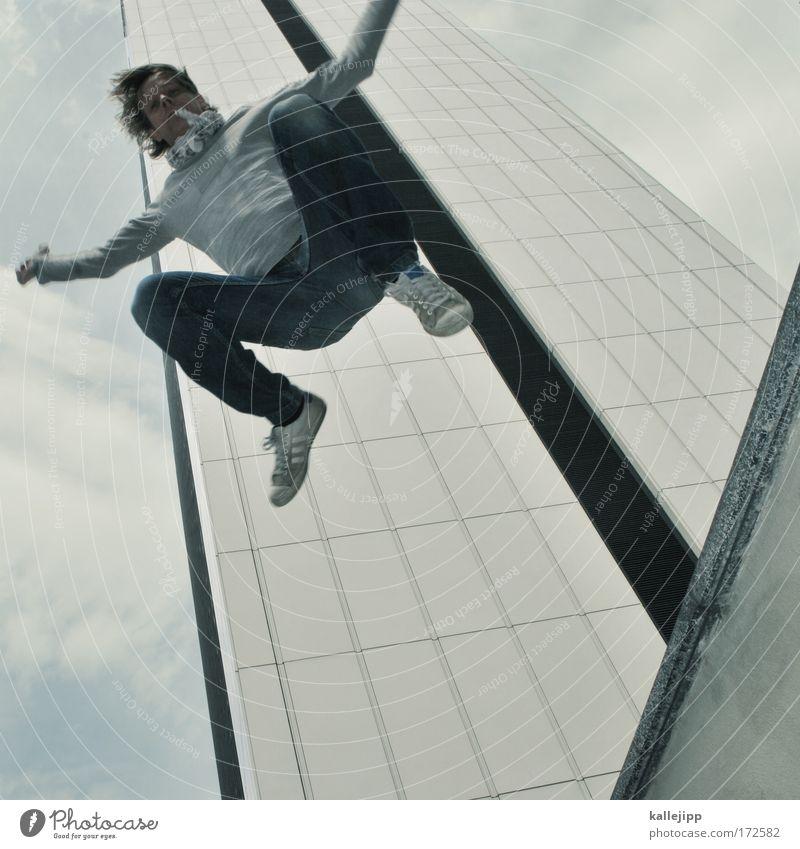 junger hüpfer Mensch Mann Freude Erwachsene Haus Leben springen Gesundheit Freizeit & Hobby Fassade fliegen Hochhaus Lifestyle Lebensfreude Affen Begeisterung