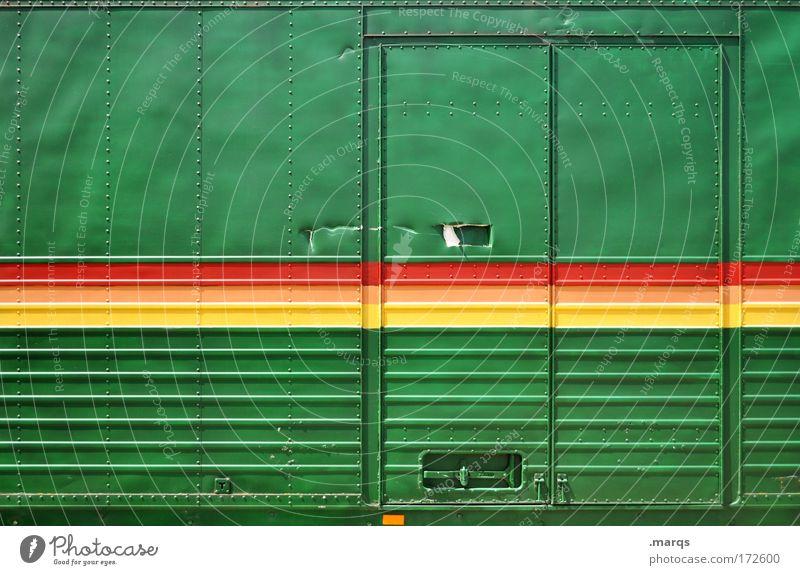 Reggae grün rot gelb Stil außergewöhnlich Lifestyle Linie Metall Tür Verkehr Lebensfreude einzigartig Kultur Streifen Güterverkehr & Logistik fahren