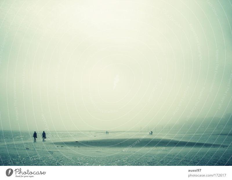 Urlaub! Jetzt! Farbfoto Textfreiraum oben Morgen Morgendämmerung Weitwinkel Männlicher Senior Mann 2 Mensch Küste Strand Bucht Nordsee wandern Sandbank