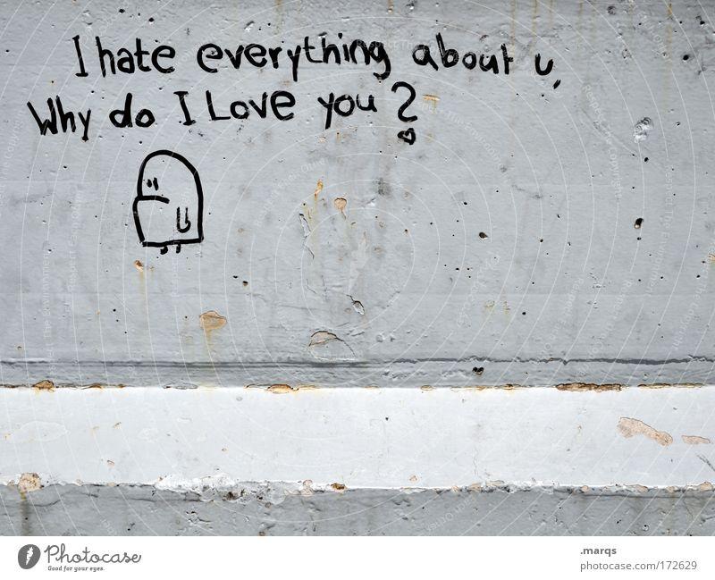 Everything about u Gedeckte Farben Außenaufnahme Textfreiraum unten Lifestyle Stil Jugendkultur Mauer Wand Schriftzeichen Graffiti Liebe authentisch einfach