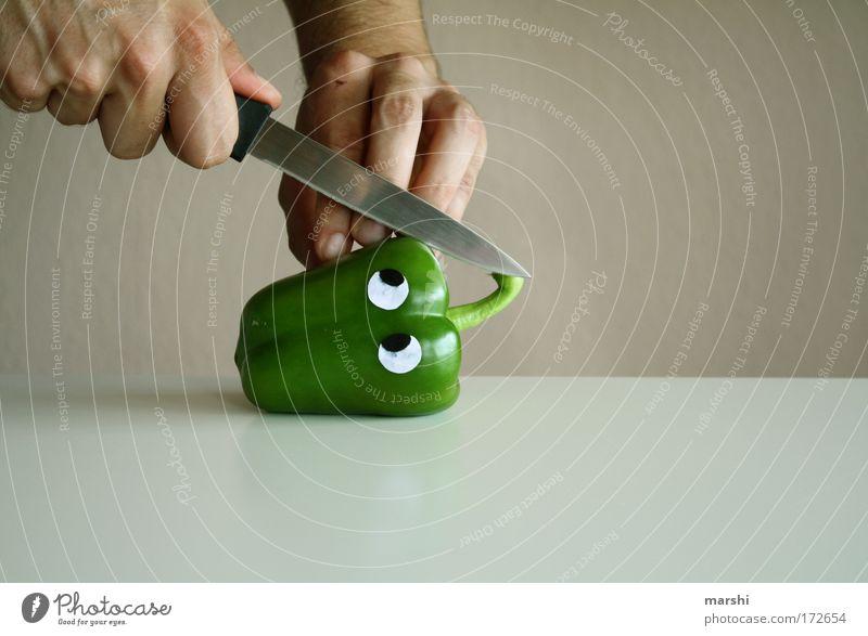 Peter Paprika in Gefahr grün Gesicht Auge Gefühle lustig Gesundheit Lebensmittel Finger Gesunde Ernährung bedrohlich Kochen & Garen & Backen Kreativität Gemüse Appetit & Hunger Todesangst lecker