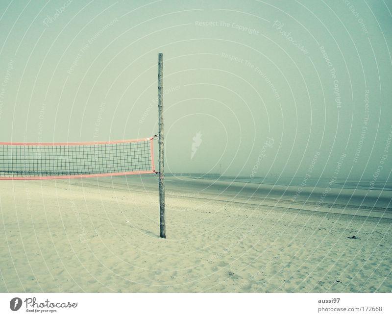 Rippenpreller Menschenleer Strand Sport Volleyball Sand Netz Spielen baggern pritschen gehen